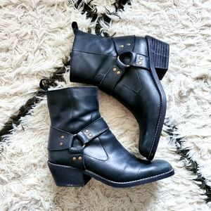 Zara Black Leather Motorcycle Boots Size 40